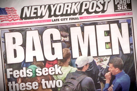 The New York Post's Controversial Cover Story of the Boston Marathon Bombings.