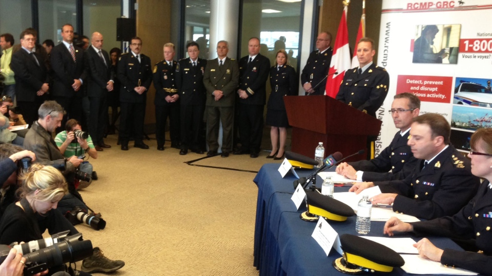 The RCMP announces the arrests of alleged terror suspects