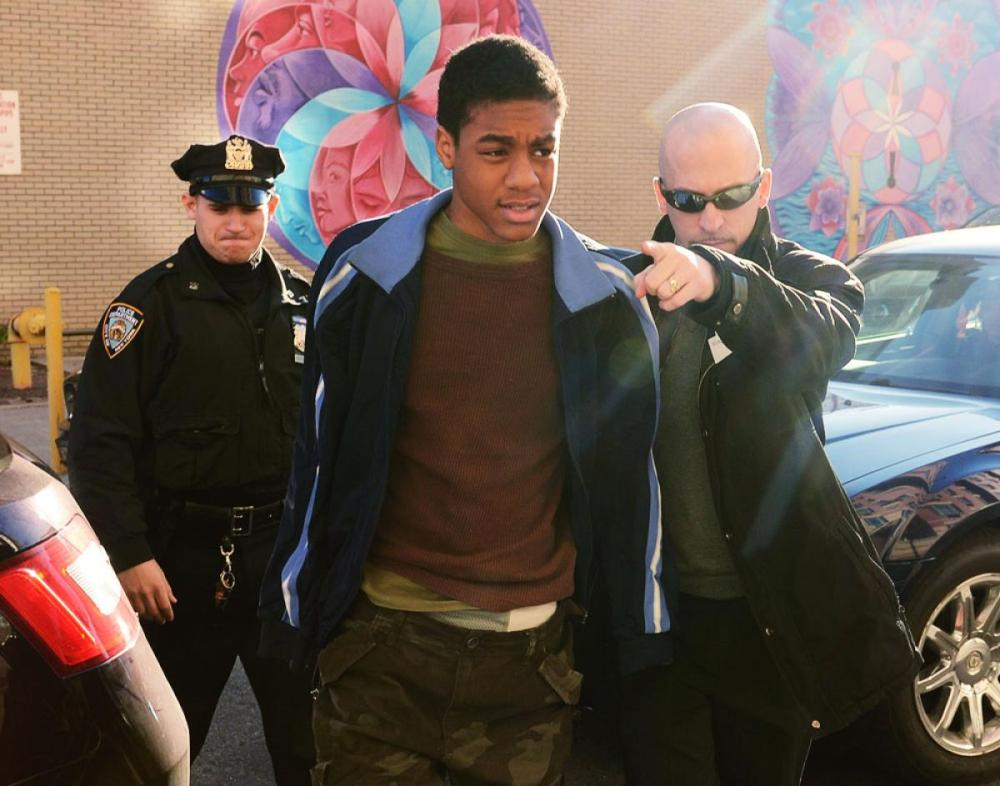 Kahton Anderson is removed from the 79th precinct on Tompkins Avenue, Brooklyn